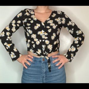 Long Sleeve Cropped Blouse